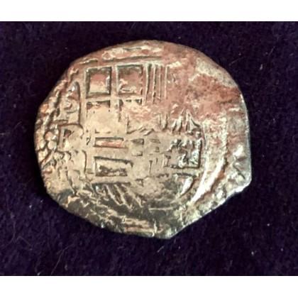 Rare Atocha Two reale grade one, Phillip II. BR Assayer, circa 1590, Coin # 94A-1420-1
