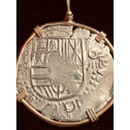 Outstanding ATOCHA Eight Reale Grade One in a 14Kt. gold bezel, from the Famed Napkin Deal of the Atocha, coin#CH4-24-4235