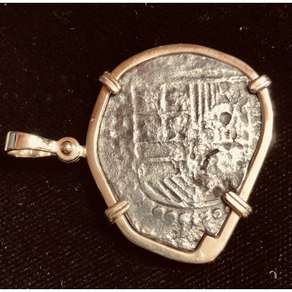 Atocha Four Reale Grade Two with Grade One Markings. 14 KT. Yellow Gold Bezel. Coin#85A-119608