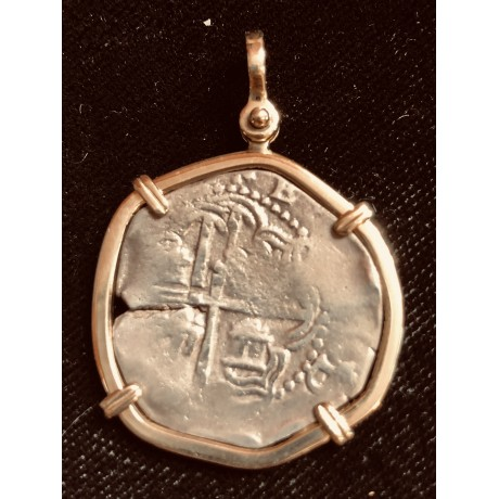Atocha Two Reale Grade Two Mounted in a 14 Kt. Gold Bezel. Coin#CH4-22-41413