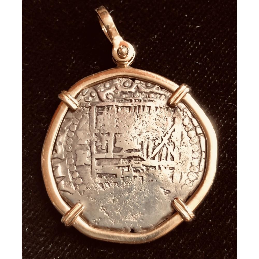 Scarce Atocha Two Reale Grade One P-R, 1613-1616. 14 karat gold bezel. Coin#CH4-21-44721