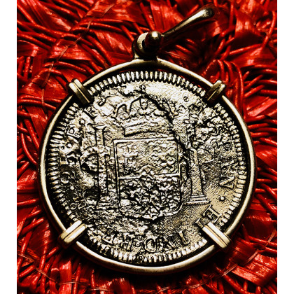 El Cazador Silver Two Reale Coin Pendant Dated 1783 in 14K Gold Bezel