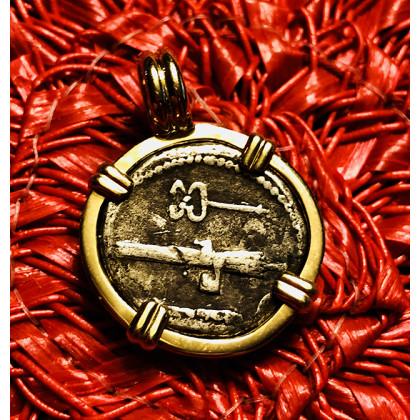 Ancient Roman Silver Denarius in 14K Gold Bezel #16-789