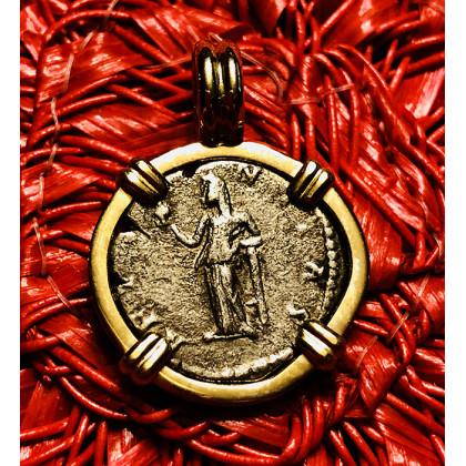 Ancient Roman Silver Denarius in 14K Gold Bezel #16-790