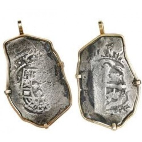 Rare 1715 Fleet Silver Eight Reale Coin Pendant Dated 1715 in 14K Gold Bezel, Coin #1715-1381
