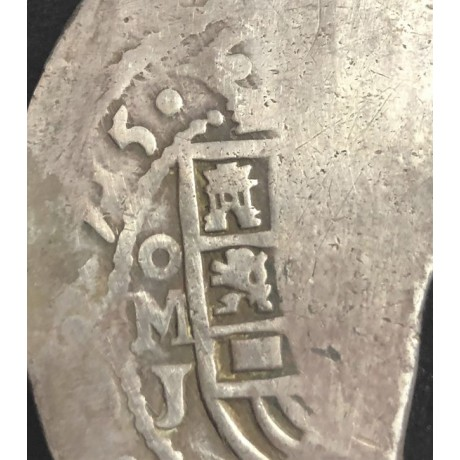 DATED 1715. VERY RARE. 1715 Fleet Mexico City Silver Eight Reale Coin #1715-1382