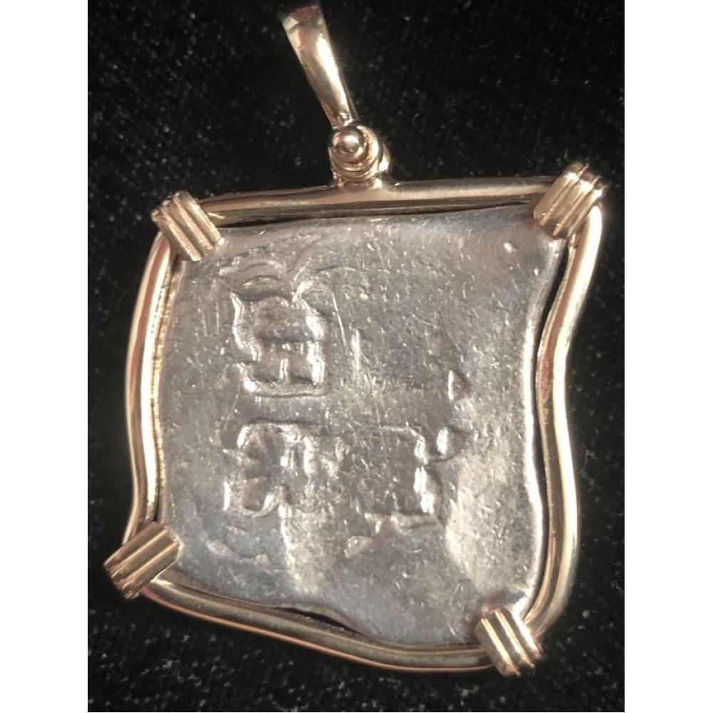 1715 Fleet Mexico City, Mexico, cob 4 reales in a 14 kt. gold bezel, Coin # 1715-1588A