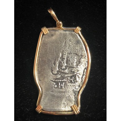 1715 fleet, SCARCE, WONDERFUL, eight reale, in a 14 kt. gold bezel, Mexico City mint, J Assayer. 26.50 Grams, Coin # 1715-307
