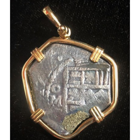 VERY RARE 1715 Fleet Mexico City, Mexico, cob 4 reales in a 14 kt. gold bezel dated 1714, Coin # 1715-328
