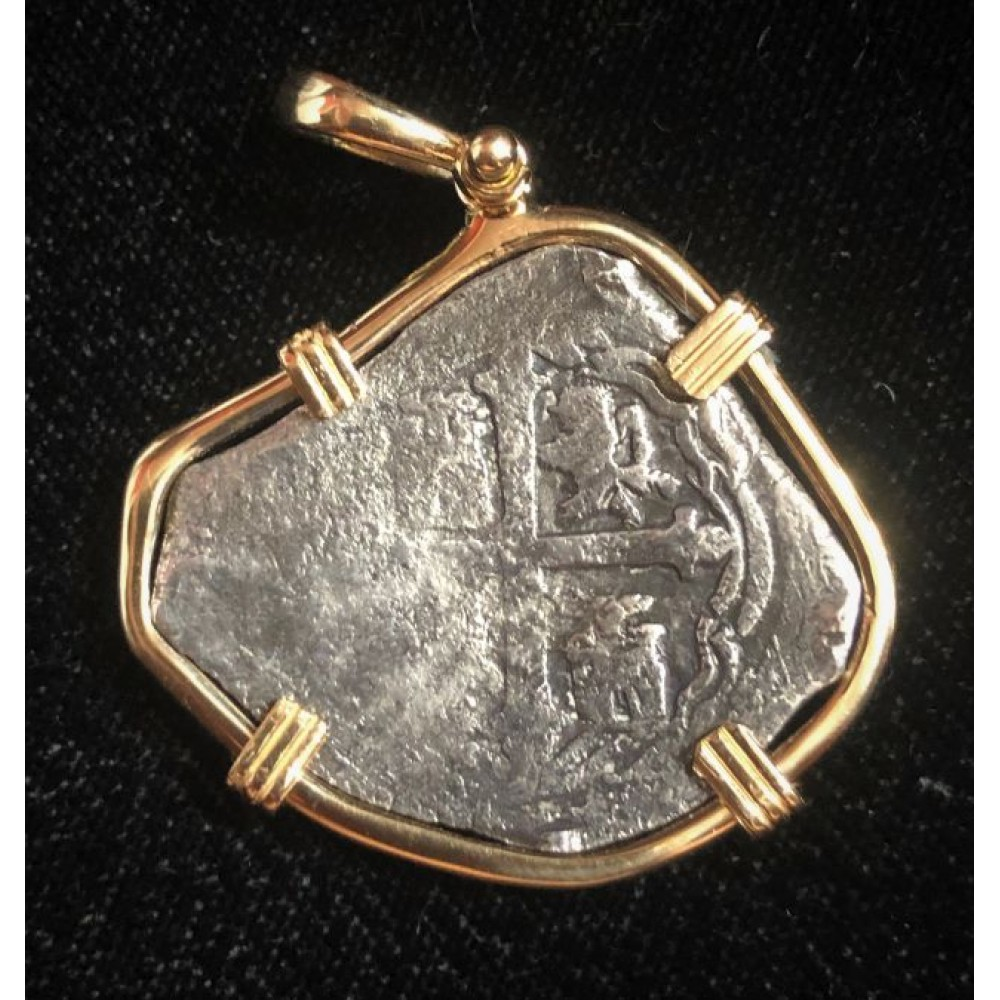 1715 Fleet Four Reale Grade One in a 14kt. Gold Bezel. coin #1715-402