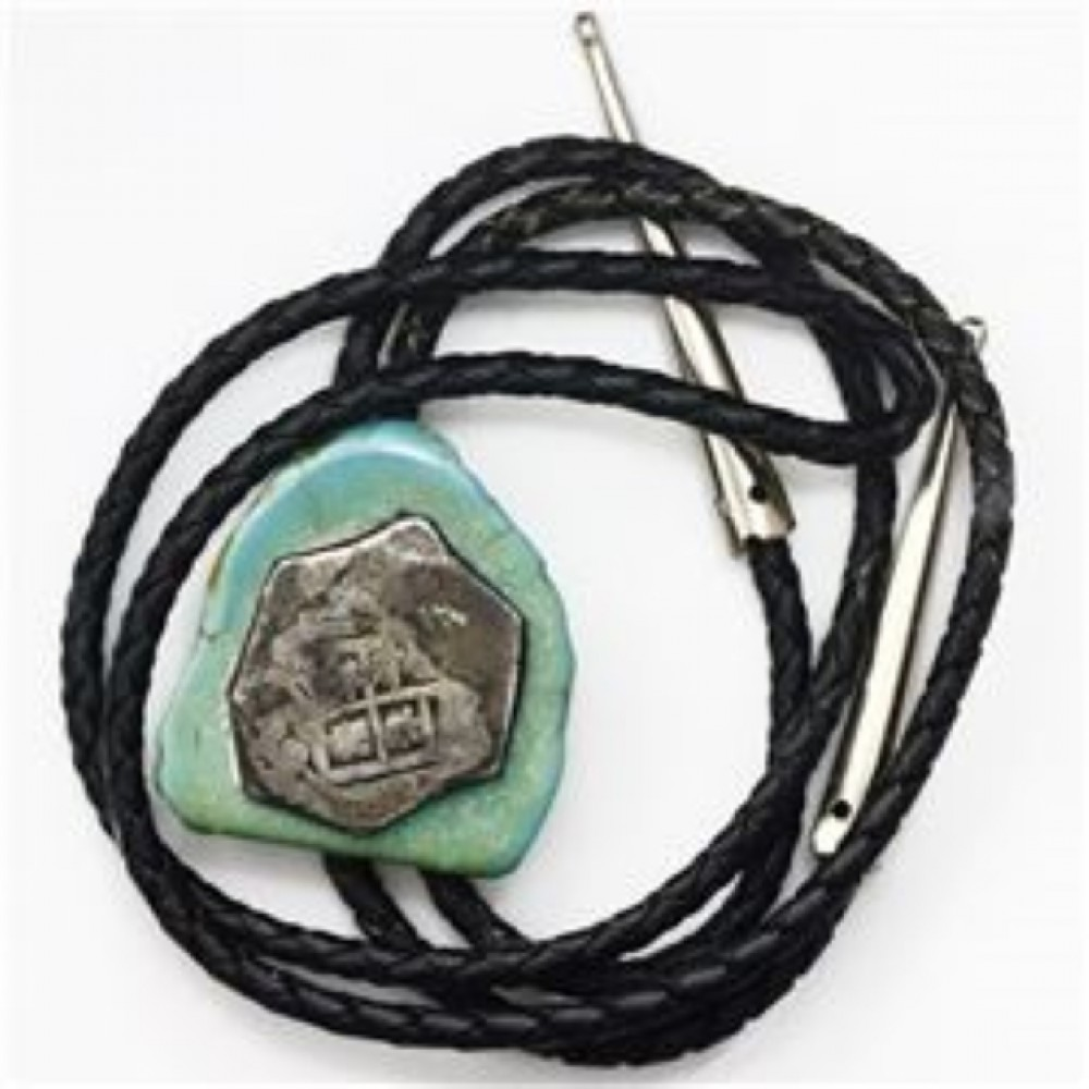 1715 FLEET Mexico City silver cob 4 reale mounted on a silver and turquoise bolo tie. Coin#1715-SC1782