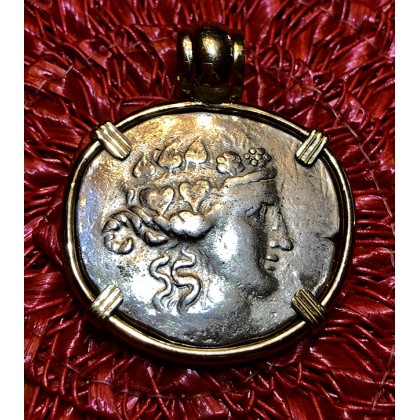 Ancient Greek Silver Tetradrachm of Dionysus (Bacchus) 167-148 B.C in 14K Gold Bezel #18-2270