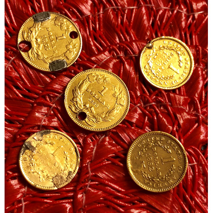 Five US One Dollar Gold Pieces