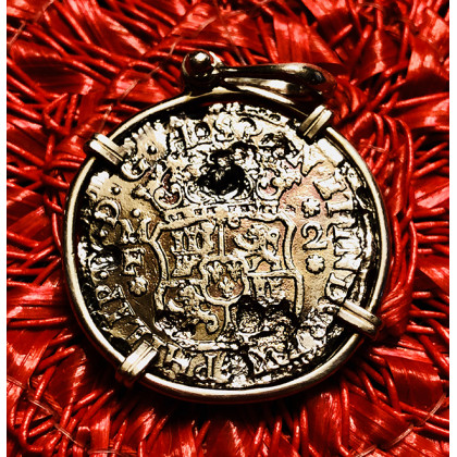 El Cazador Silver Two Reale Coin Pendant Dated 1740 in 14K Gold Bezel