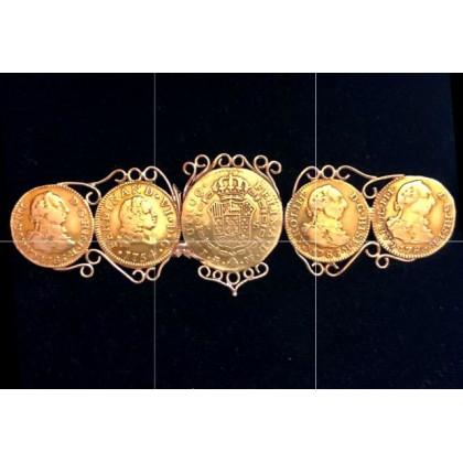 5 SPANISH GOLD ESCUDOS MOUNTED INTO A GOLD ANTIQUE PIN VERY RARE GENUINE 1780's Artifact#18-33779