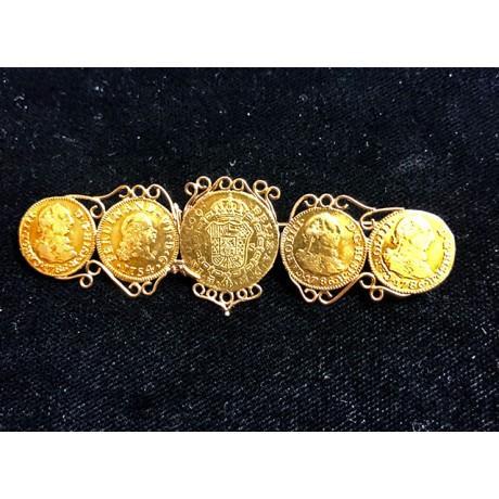 Five Spanish Gold Escudos Mounted into an Antique Gold Pin