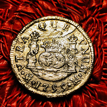 El Cazador Silver Two Reale Coin Dated 1755