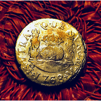 El Cazador Silver Two Reale Coin Dated 1768