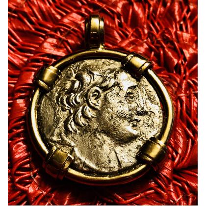 Ancient Greek Silver Tetradrachm of Antiochus VII in 14K Gold Bezel #18-631