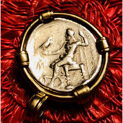 Ancient Greek Silver Tetradrachm of Alexander III The Great in 14K Gold Bezel #18-676
