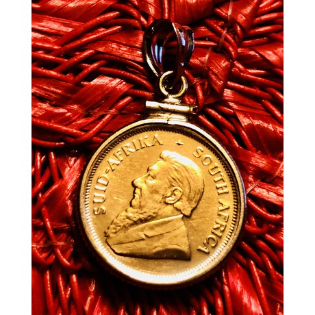 South Africa Gold 1/10th Ounce Krugerrand in 14K Gold Bezel #18-688