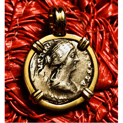 Ancient Roman Silver Denarius in 14K Gold Bezel #18-743