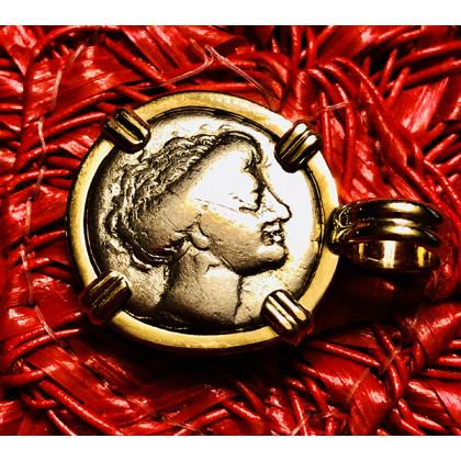 Ancient Greek Silver Drachm in 14K Gold Bezel #18-811