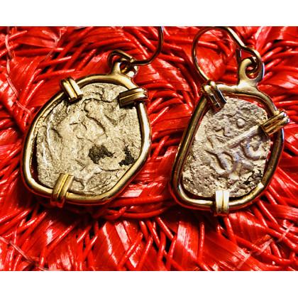 1715 Fleet Silver One-Half Reale 14K Gold Earrings