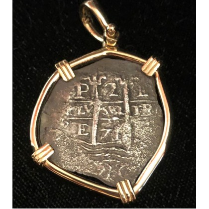 Consolacion Pirate Wreck of 1681. Two Reale Dated 1656. 14 kt. Gold Bezel. Coin #20-1395