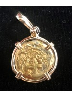1730's Bogota Gold Two Escudo gold doubloon. 14 Kt. Bezel. #GC032
