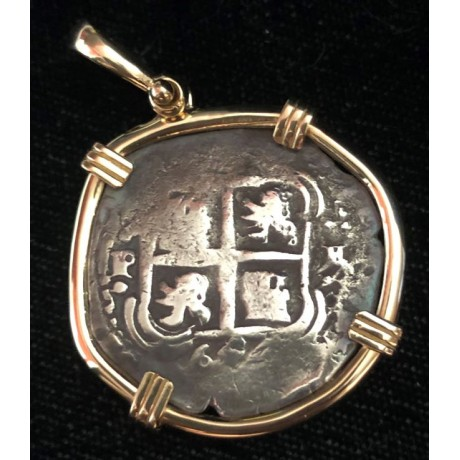 Consolacion Pirate Wreck of 1681. Two Reale Double Dated 1654. 14 kt. Gold Bezel. #20-3714