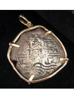 Consolacion Pirate Wreck of 1681, Eight Reale Dated 1671 Mounted in 14 kt. Gold Bezel. Coin #20-6319