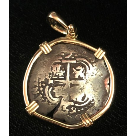 Consolacion Pirate Wreck of 1681. Two Reale  Double Dated 1659. 14 kt. Gold Bezel. #20-698