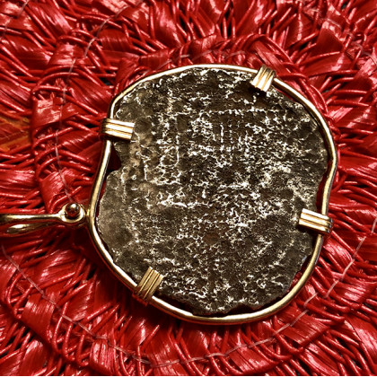 Atocha Silver Five Point Eight Reale Coin Pendant in 14K Gold Bezel with Five Original Signatures #2857