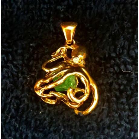 Atocha 1.15 carat Emerald Mounted in a 14 karat three dimensional octopus bezel , artifact # 63242