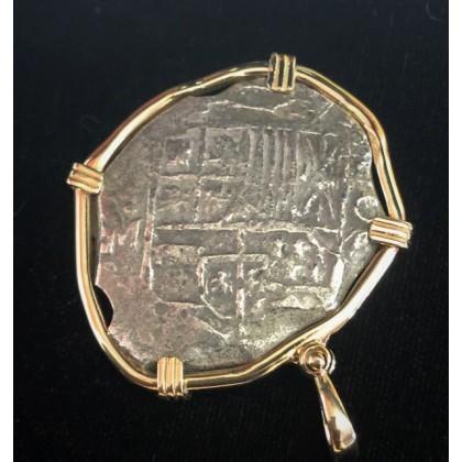 ATOCHA Grade 3 eight reale silver coin  circa 1617 mounted in a 14 Kt. gold bezel with COA  #85A-102373