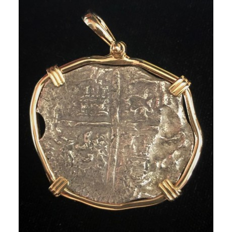 ATOCHA Grade 3 eight reale silver coin  circa 1617 mounted in a 14 Kt. gold bezel with COA  #85A-102373