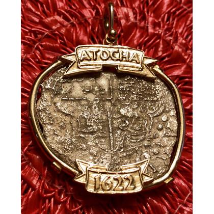 Atocha Silver Eight Reale Grade Three Coin Pendant in 14K Gold Bezel #85A-117162