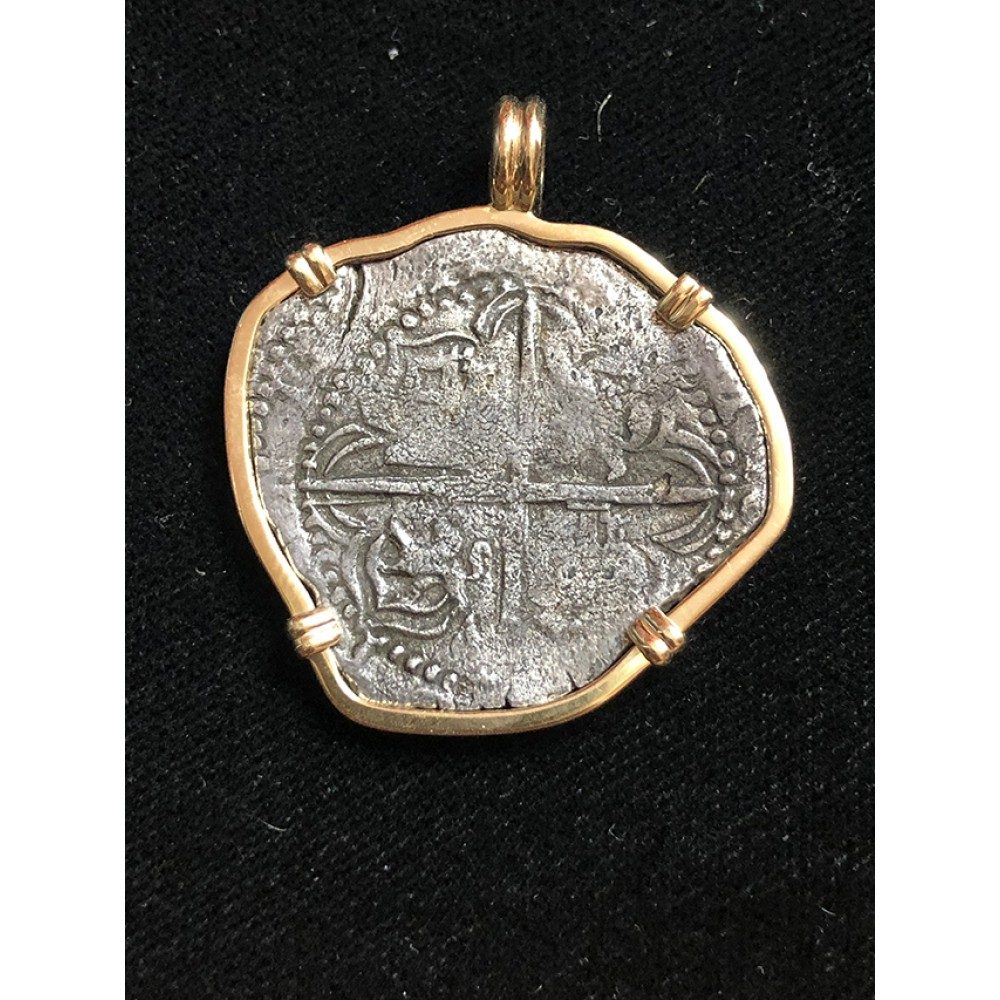 Atocha Four Reale Grade One Coin Pendant in 14K Gold Bezel