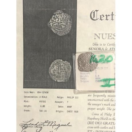 RARE Atocha Silver Two Reale Grade Two Coin dated 1620 CONSENSUS GRADE ONE, Coin # 85A-127450