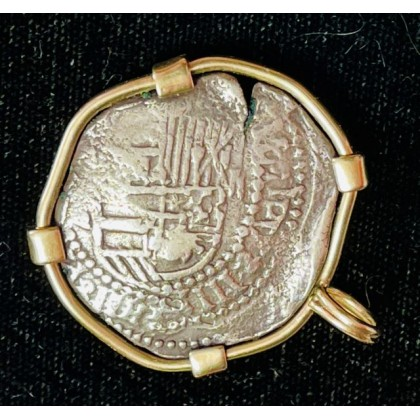 Atocha Two Reale Grade Two in a 14Kt. Gold Bezel. COA # 85A-127611