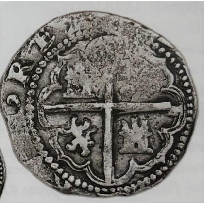 vERY Rare Atocha Silver Two Reale Grade One Coin, B/L Assayer 1578-1582