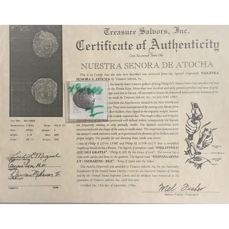 Rare Atocha Silver Two Reale Grade One Coin, B Assayer, X Borders