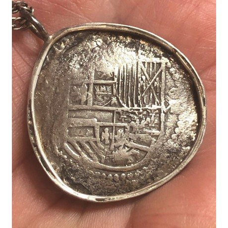 Atocha Silver Eight Reale Grade One Coin Pendant in Sterling Silver Bezel #85A-157356