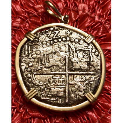 Atocha Silver Eight Reale Grade One Coin Pendant dated 1622 14kt. Bezel #85A-157935