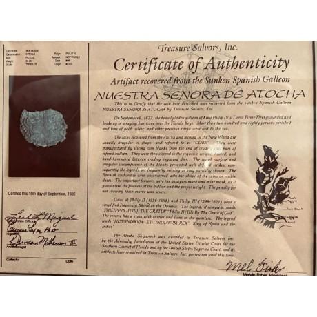 ATOcha Grade Three Eight Reale in a professionally wood framed. COA # 85A-187659