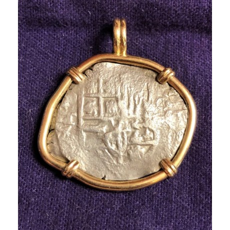 Atocha Potosi Silver cob 4 reales in a 14kt Gold Bezel, COA  # 85A-200355