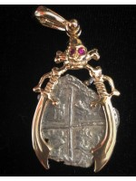 Atocha Two Reale Mounted in a 14kt. Gold 3D Skull and Swords Bezel with Ruby Eyes. Coin # 85A-202437
