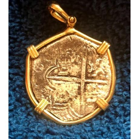 ATOCHA Grade 1 Four Reale in a 14 kt. gold bezel. Incredibly well struck M/Q Assayer? 1616-1617.COA #85A-211003