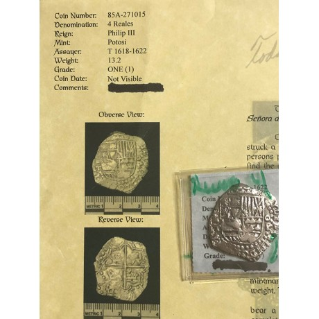 Rare Atocha Four Reale Grade One Coin with a Reversed 4 PxT #96A-271015
